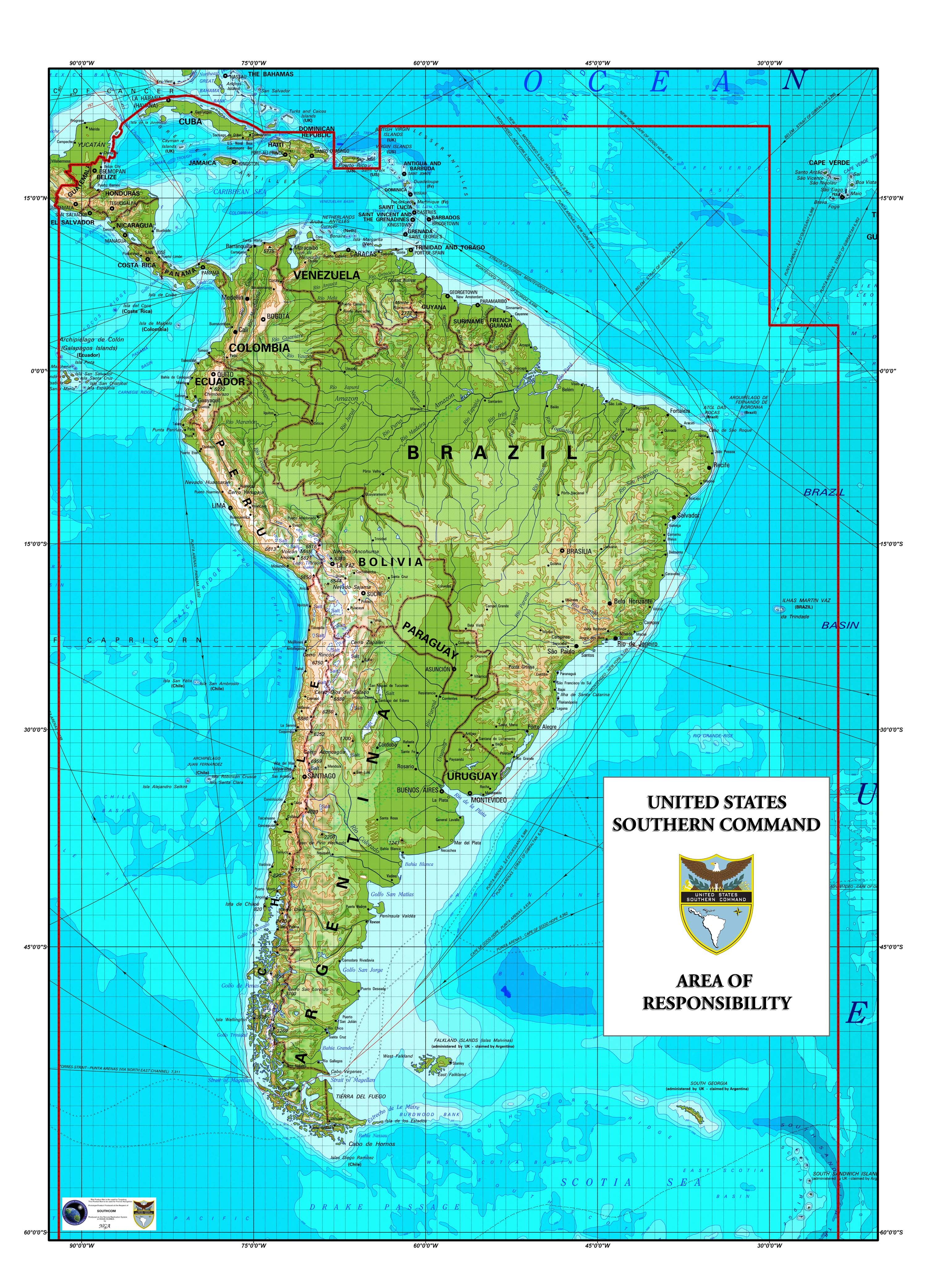 Southcoms area of responsibility map of central america south america delineating southcom area of responsiblity gumiabroncs Gallery