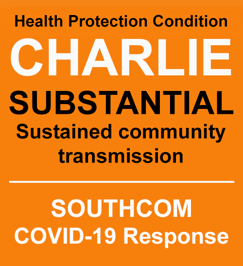 Installation Health Force Protection Status Graphic. TEXT: Charlie -  Substantial sustained community transmission. | SOUTHCOM COVID-19 Response