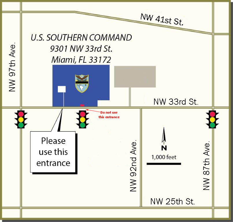 Street map of SOUTHCOM headquarters.