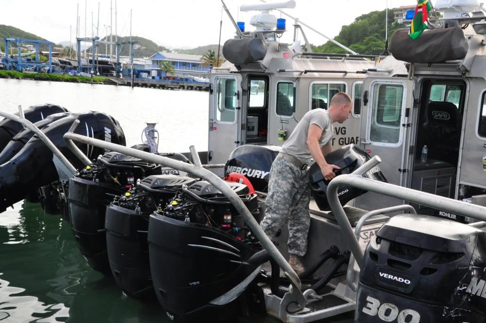 A Caribbean Basin Security Initiative Technical Assistant Field Team member completes boat checks June 7, 2016 in St. George's, Grenada, for Exercise Tradewinds 2016.